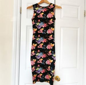 Revamped neon floral bodycon dress